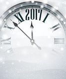 2017 New Year background with clock. 2017 New Year gray background with clock and snow. Vector illustration Royalty Free Stock Image
