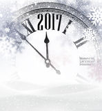2017 New Year background with clock. 2017 New Year gray background with clock and snow. Vector illustration Stock Image