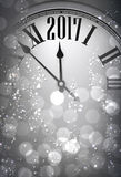 2017 New Year background with clock. 2017 New Year gray background with clock. Vector illustration Stock Image
