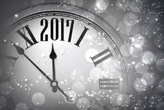 2017 New Year background with clock. 2017 New Year gray background with clock. Vector illustration Stock Photos