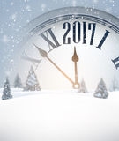 2017 New Year background with clock. Gray 2017 New Year background with clock. Vector illustration Stock Photography