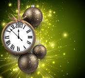 2017 New Year background with clock. 2017 New Year green background with clock and balls. Vector illustration Stock Image