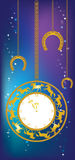 New Year background with clock and horseshoes Stock Images