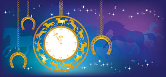 New Year background with clock and horseshoes. Blue Christmas background with a gold watch and horseshoes hanging on chains against the night sky and stars stock illustration