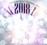 2018 New Year background with clock. 2018 New Year lilac shining background with clock. Vector illustration Royalty Free Stock Photo