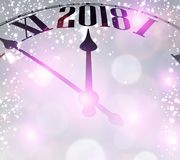 2018 New Year background with clock. Lilac 2018 New Year background with clock. Vector illustration Royalty Free Stock Images