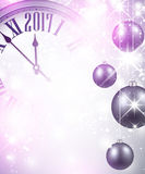 2017 New Year background with clock. 2017 New Year luminous background with clock and balls. Vector illustration Royalty Free Stock Photography
