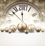 2017 New Year background with clock. 2017 New Year luminous background with clock and balls. Vector illustration Royalty Free Stock Photos