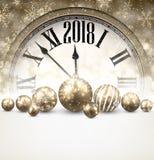 2018 New Year background with clock. Luminous 2018 New Year background with clock and balls. Vector illustration Stock Photo