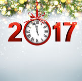 2017 New Year background with clock. 2017 New Year luminous background with red clock. Vector illustration Royalty Free Stock Photos