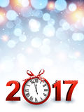 2017 New Year background with clock. 2017 New Year luminous background with red clock. Vector illustration Royalty Free Stock Images