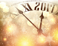 2017 New Year background with clock. 2017 New Year luminous background with clock. Vector illustration Royalty Free Stock Images