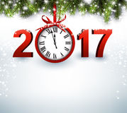 2017 New Year background with clock. 2017 New Year luminous background with clock. Vector illustration Royalty Free Stock Image