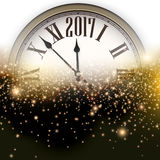 2017 New Year background with clock. 2017 New Year luminous background with clock. Vector illustration Royalty Free Stock Photo
