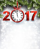 2017 New Year background with clock. 2017 New Year luminous background with clock. Vector illustration Royalty Free Stock Photography