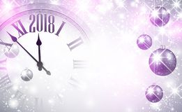 2018 New Year background with clock. Magic 2018 New Year background with clock and balls. Vector illustration Royalty Free Stock Images