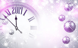 2017 New Year background with clock. 2017 New Year magic background with clock and balls. Vector illustration Stock Image