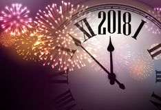 2018 New Year background with clock. 2018 New Year background with clock and colorful fireworks. Vector illustration Stock Photography