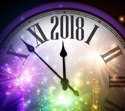2018 New Year background with clock. 2018 New Year background with clock and colorful lights. Vector illustration Stock Image