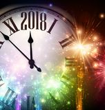 2018 New Year background with clock. 2018 New Year background with clock and colorful lights. Vector illustration Royalty Free Stock Photos