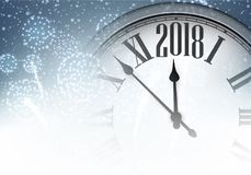 2018 New Year background with clock. 2018 New Year background with clock and fireworks. Vector illustration Stock Image