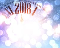 2018 New Year background with clock. 2018 New Year shining background with clock. Vector illustration Royalty Free Stock Image