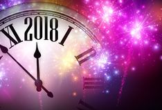 2018 New Year background with clock. Royalty Free Stock Photos
