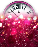 2017 New Year background with clock. 2017 New Year pink background with clock and hearts. Vector illustration Stock Photography