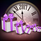 2017 New Year background with clock. 2017 New Year purple background with clock and gifts. Vector illustration Stock Images
