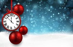 2017 New Year background with clock. 2017 New Year background with clock and red balls. Vector illustration Royalty Free Stock Photography