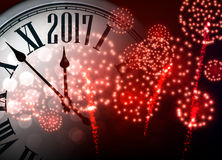 2017 New Year background with clock. 2017 New Year background with clock and red fireworks. Vector illustration Royalty Free Stock Photography