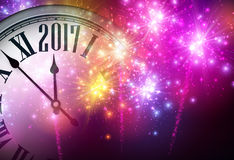 2017 New Year background with clock. 2017 New Year background with clock and red fireworks. Vector illustration Stock Images