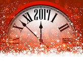 2017 New Year background with clock. 2017 New Year red background with clock and snow. Vector illustration Stock Photo