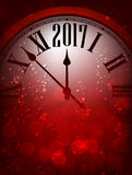 2017 New Year background with clock. 2017 New Year red background with clock. Vector illustration Royalty Free Stock Photography
