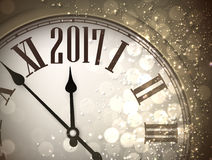 2017 New Year background with clock. 2017 New Year sepia background with clock. Vector illustration Royalty Free Stock Photography