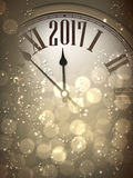 2017 New Year background with clock. 2017 New Year sepia background with clock. Vector illustration Royalty Free Stock Image