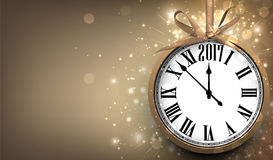 2017 New Year background with clock. 2017 New Year sepia background with clock. Vector illustration Stock Image
