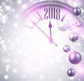2018 New Year background with clock. Shining 2018 New Year background with clock and balls. Vector illustration Stock Photography