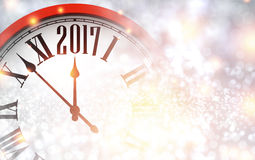 2017 New Year background with clock. 2017 New Year shining background with red clock. Vector illustration Royalty Free Stock Photo