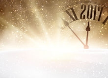 2017 New Year background with clock. 2017 New Year shining background with clock and snow. Vector illustration Stock Photography