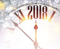 2018 New Year background with clock. 2018 New Year shining background with clock. Vector illustration Royalty Free Stock Photography