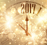 2017 New Year background with clock. 2017 New Year shining background with clock. Vector illustration Stock Illustration