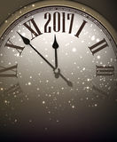 2017 New Year background with clock. Royalty Free Stock Photography