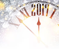 2017 New Year background with clock. 2017 New Year shining background with clock. Vector illustration Royalty Free Stock Photos