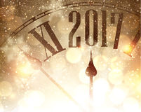 2017 New Year background with clock. 2017 New Year shining background with clock. Vector illustration Royalty Free Stock Photography