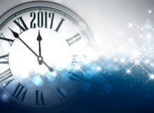 2017 New Year background with clock. 2017 New Year shining background with clock. Vector illustration Stock Images