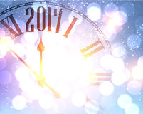 2017 New Year background with clock. 2017 New Year shining background with clock. Vector illustration Vector Illustration