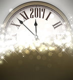2017 New Year background with clock. 2017 New Year shining background with clock. Vector illustration Stock Photo