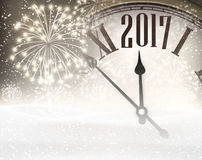 2017 New Year background with clock. Stock Photography