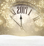 2017 New Year background with clock. 2017 New Year background with clock, snow and fireworks. Vector illustration Stock Photo